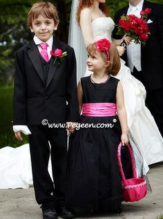 Black and hot pink tulle flower girl dress - Pegeen Couture 402