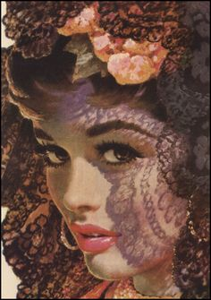 Edwin Georgi — Cosmopolitan vintage  illustration beautiful woman wearing a lace veil.  #shadows