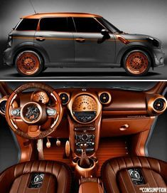 Steam punk Mini Cooper... Mini Countryman, designed by Poland's Carlex Design. This Mini Cooper has been completely revamped from the inside out. The exterior is drenched in a flat grey paint job hit with contrasting accents of copper found on the wheels along with several other details throughout. The interior has been completely overhauled with copper trim, wood, and brown leather to wrap things up.