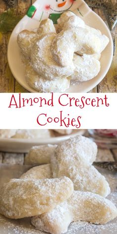 healthy eating - Almond Crescent Cookies, almond, pecan or walnut these melt in your mouth Christmas Cookie Recipe are a must make Delicious cookies Christmasrecipe Christmascookie crescents almonds almondcrescents sweets Xmas Cookies, Yummy Cookies, Cupcake Cookies, Chip Cookies, Cookie Cakes, Snowball Cookies, Cookie Tray, Holiday Baking, Christmas Baking