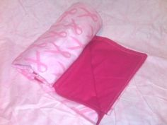 Think Pink Breast Cancer Awareness blanket Hot pink 43x43 | bitspeaces - Quilts on ArtFire