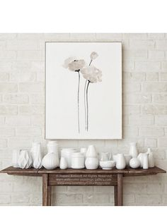 White Poppy Minimalist Wall Decoration Women Anniversary