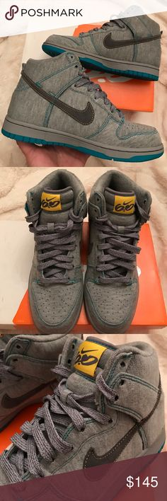 NIB Nike Womens Dunk High 6.0 size 8 These are super cute!  Women's size 8 Medium Gray Dunk High's 6.0. Brand new in box.  Gray Fabric throughout with teal details. Deadstock. Nike Shoes Sneakers