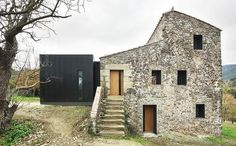 """bosch capdeferro studio — Porch House The intervention proposes to """"complete"""" the place, preserving the virtues of the existing and smoothing out the cadences. Building a porch on the south facade of the house, the space originally occupied by the farm animals, offers much needed open space for daily life, and connects the house with its priviledged site."""
