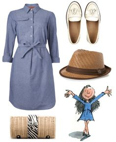 """Monica, a Harvard student, writes a biweekly column called """"Looks from Books"""" where she creates outfits based on novels and their characters. I'm loving this one she made of Matilda! Roald Dahl Costumes, Matilda Costume, Matilda Roald Dahl, Pretty Outfits, Cute Outfits, College Girl Fashion, Book Week Costume, Character Inspired Outfits, Teacher Outfits"""