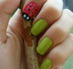 Ladybug accent nail with solid green nails Pretty Nail Art, Cool Nail Art, Ladybug Nails, Self Nail, New Things To Try, Accent Nails, Green Nails, Love Bugs, Fun Nails