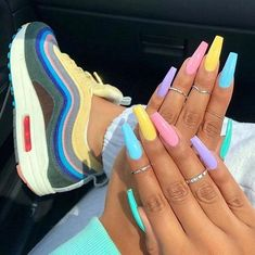 Nail coffin made of acrylic - nails gel nails - new ideas - nagel, Acrylic Nails Coffin Short, Best Acrylic Nails, Cute Acrylic Nail Designs, Coffin Nails Designs Summer, Acrylic Nail Art, Coffin Nail Designs, Colorful Nail Designs, Colored Acrylic Nails, Coffin Acrylics