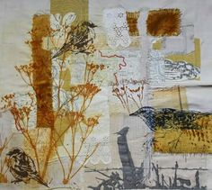 Gum Arabic transfer on mixed fabric collage.