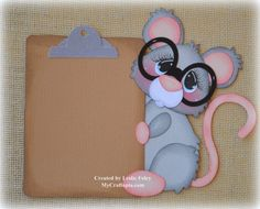 Mouse with a clipboard School Premade Scrapbooking by MyCraftopia, $5.95