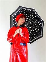 Unisex red vintage raincoat with