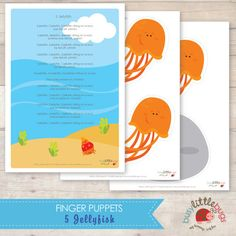 5 Jellyfish Finger Puppets and Poem by BUSYLITTLEBUGSshop on Etsy, $4.95