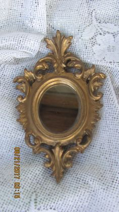Vtg Ornate Small Gold SYROCO Style Victorian Scroll Florentine Wall MIRROR, Made…