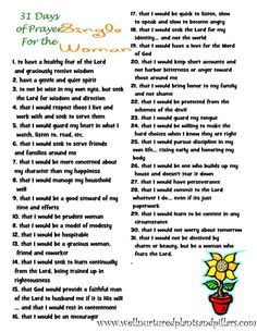 A FREE printable of 10 Prayers for Women -- being an excellent wife, a virtuous woman, a woman of peace and more! Description from pinterest.com. I searched for this on bing.com/images