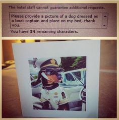 Traveler Entertains Himself by Making Crazy Requests on Hotel Order Forms...That They Actually Fill - Business Travel Doesn't Need to Be Boring | Guff