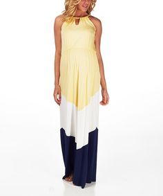 Look at this #zulilyfind! Yellow & Navy Blue Color Block Maternity Maxi Dress by PinkBlush Maternity #zulilyfinds