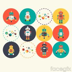9 round robot icon vector: