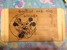 Mickey and minnie love cutting board on Etsy, $25.00 CAD