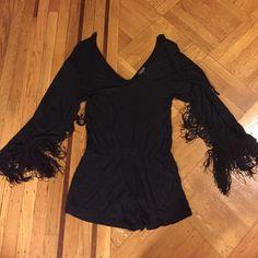 Black romper with fringe sleeves Black romper with fringe sleeves Topshop Other