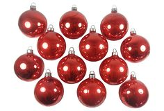 One Kings Lane - All the Trimmings - Red Crackle Ornaments, S/12