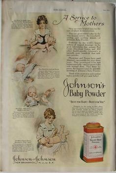 JOHNSON'S BABY POWDER 1920 Vintage Magazine Ad. Advertisements was one of the main reasons why the American business market was changing. advertisements focused more on products that Americans wanted or needed like baby powder for mothers. Vintage Advertisements, Vintage Ads, Vintage Images, Print Magazine, Magazine Ads, Baby Medicine, Mass Culture, Vintage Medical, Vintage Drawing