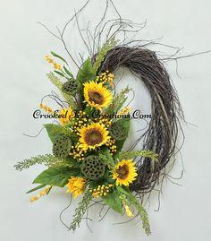 Sunflower And Lotus Pod Oval Birch Wreath