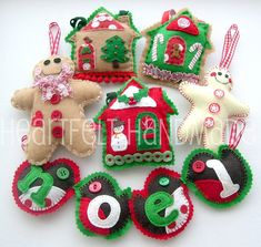 Felt Christmas Ornaments By heartfelthandmade @Flickr: Christmas is coming! Here's some of my 2009 Christmas decorations~making lots more too, I love Christmas!!!