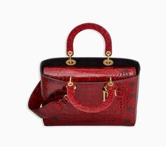 Bolsa lady dior em couro de crocodilo timbrado vermelho - Dior