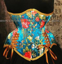afdeaef36f6 New MCC-63 Floral satin Underbust tightlacing waist training corset MystiC  City Corsets