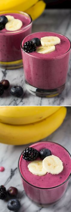 Berry Pomegranate Smoothie. Made with Greek yogurt & banana - you'll love this healthy, 4 ingredient breakfast.