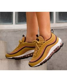 1642e4622ebb9 Nike Air Max 97 Womens Wheat Gold Burgundy Black Trainer Shoes