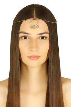 Gold plated turquoise and garnet beads headpiece available only at Pernia's Pop-Up Shop.