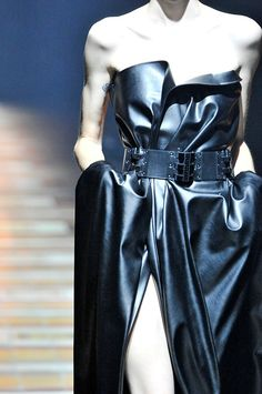 Thigh-bearing, fierce leather dress at Lavin AW14 PFW. More images at: http://www.dazeddigital.com/fashionweek/womenswear/aw14