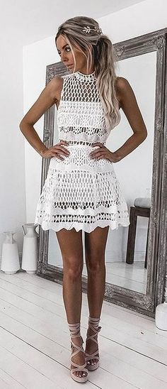 #spring #outfits We Love @kirstyfleming In The 'hail The Queen Dress'! // White Lace Dress + Grey Sandals