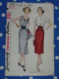 D'epoca modello 1953 semplicità No.4222 abito senza maniche, giacca, fascione Sz.16 di auntnonniesnest su Etsy https://www.etsy.com/it/listing/185743584/depoca-modello-1953-semplicita-no4222