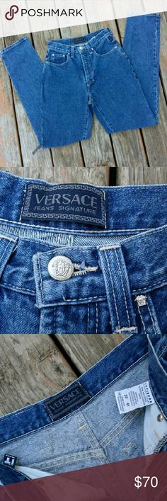 """Versace Vintage Highwaisted Denim Jeans Check out these fabulous jeans! Vintage, authentic, highwaisted Versace denim jeans! Although tag says size 27, these would best work for sizes 25 and 24 (size 24 as looser fitting and super trendy and cute)..see measurements. Waistband is 25.5"""" circumference (12 3/4"""" wide), front rise is 10.5"""" and inseam is 32"""" (great cuffed). In superior vintage condition! Versace Jeans"""