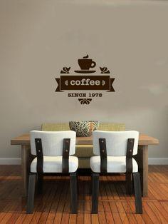 Cup of Coffee Smoke Stamp Logo Wall Vinyl Decal Art Murals Design Interior Modern Cafe Dining Room Kitchen Coffee Shop Decor Sticker SV4693