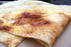 Cinnamon Tortillas. Easy peasy snack for the kids. I'd serve with apple slices or Apple sauce