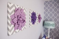 "DIY Wall art for Lilia's ""big girl"" room gray and purple nursery 