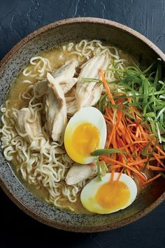 Sometimes a ramen fix is just the right thing, and this quick and easy version from Food & Wine's Justin Chapple hits the spot. The addition of white miso and runny eggs are key to making it feel more special than standard chicken noodle soup.#asianrecipes #internationalrecipes #asiancuisine #foodandwine Ramen Recipes, Wine Recipes, Asian Recipes, Ethnic Recipes, Chinese Recipes, Noodle Recipes, Chicken Ramen Recipe, Miso Chicken, Chicken Soup