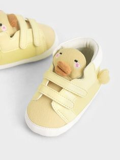 Baby Girls' David The Duck High Top Sneakers | CHARLES & KEITH SG Baby Sneakers, High Top Sneakers, Girls Shoes, Baby Shoes, White Frock, Charles Keith, Store Signs, Velcro Straps, Baby Girls
