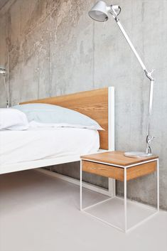 – steel and solid wood ash or oak - Luxery Houses Steel Bed, Steel House, Pipe Furniture, Modern Furniture, Oak Beds, Bauhaus Design, Metal Beds, Bed Design, Bed Frame
