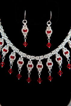Byzantine Intrigues Argentium Sterling Silver Necklace  Earring set with Light Siam Red Swarovski Crystals