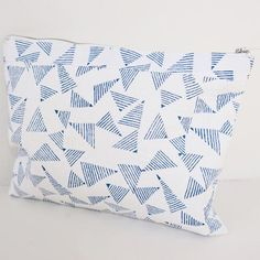 POUCH by Tikau (Large, blue/white triangle) Ethical Brands, Clothing Accessories, Triangle, Pouch, Blue And White, Quilts, Blanket, Bags, Clothes