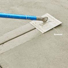 How to Pour a Perfect Concrete Slab Cut in control joints Stamped Concrete Driveway, Concrete Tools, Concrete Patio Designs, Concrete Finishes, Concrete Driveways, Poured Concrete, Concrete Projects, Concrete Finishing Tools, Diy Concrete Patio