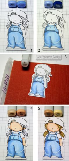 Coloring tutorial with Let's Hang Out stamp - Sharon Harnist #mftstamps