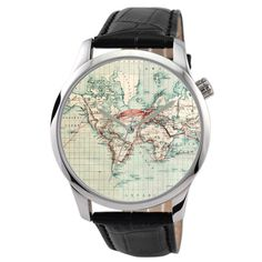 Map Watch World in Silver Big size by SandMwatch on Etsy, $48.00