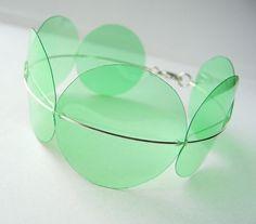 2 Liter Soda Bottle Bracelet in Transparent Green by ArtworkbyKD, $11.00