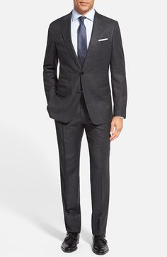 BOSS 'Hazel/Genius' Trim Fit Plaid Wool & Silk Suit available at #Nordstrom