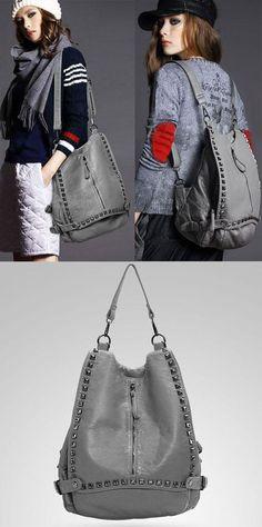 Rivet Soild College Multifunctional Backpacks for big sale ! #college #rivet #backpack #bag #cute