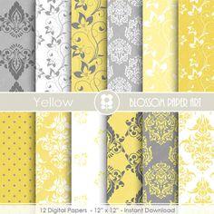Digital Paper, Yellow Paper Pack, Damask Digital Paper Pack, Floral digital backgrounds, Floral, Damask Wedding Papers -1686